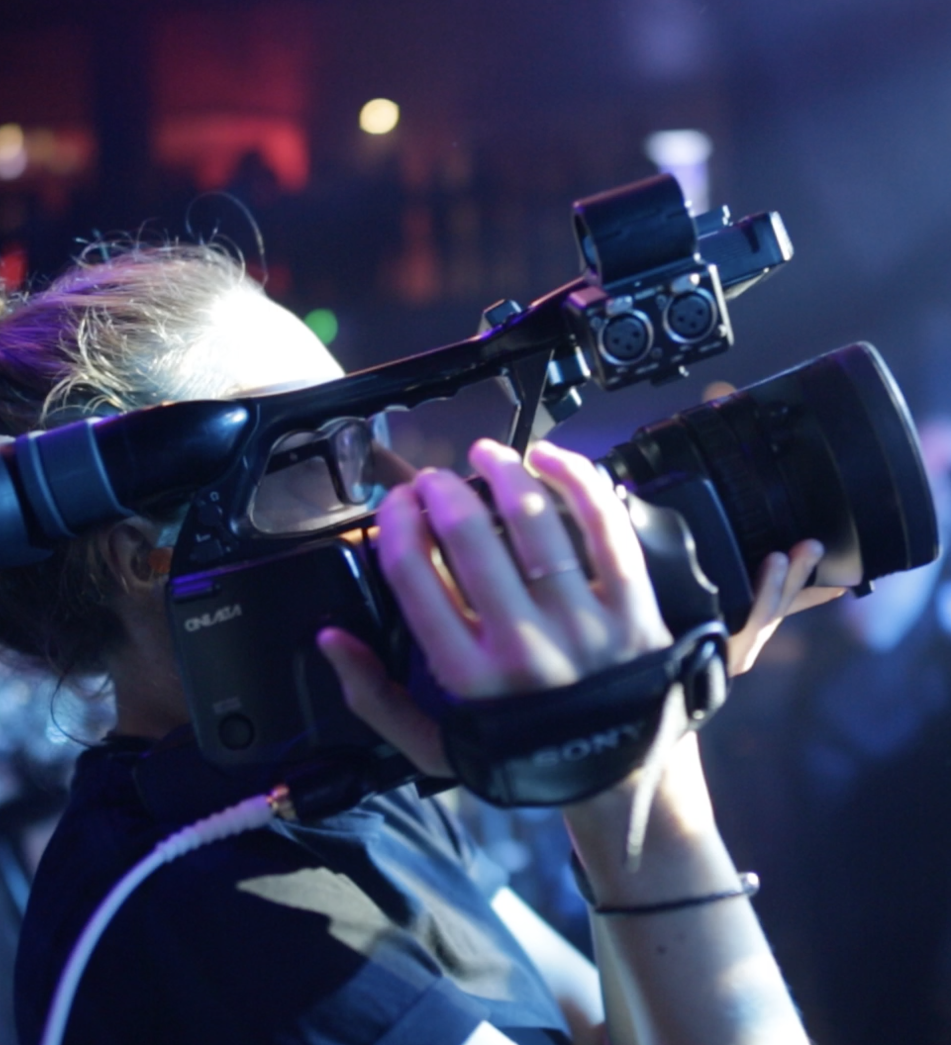 Chesterfield College student running camera during MCP inaugural launch show